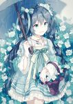 1girl aqua basket bow bracelet collarbone dress eyelashes flower gocoli green_eyes green_hair hair_flower hair_ornament hatsune_miku holding holding_umbrella jewelry legs long_hair long_sleeves necklace open_mouth outdoors rain ribbon smile solo twintails umbrella very_long_hair vocaloid