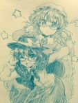 2girls ;d adjusting_glasses arm_up bangs bespectacled blush bow capelet commentary_request cowboy_shot crescent efukei eyebrows_visible_through_hair glasses hair_between_eyes hair_bow hand_up hands_up hat hat_bow highres leaning_forward long_sleeves looking_at_viewer maribel_hearn mob_cap monochrome multiple_girls one_eye_closed open_mouth parted_lips semi-rimless_glasses sidelocks skirt smile sparkle star touhou traditional_media under-rim_glasses usami_renko