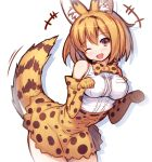 +++ 1girl ;d animal_ears animal_print bare_shoulders blush bow bowtie breast_pocket breasts cat_ears cat_tail cowboy_shot elbow_gloves eyebrows_visible_through_hair gloves head_tilt high-waist_skirt kemono_friends laughing leaning_forward leopard_print looking_at_viewer medium_breasts migumigu motion_lines one_eye_closed open_mouth orange_hair paw_pose pocket red_eyes serval_(kemono_friends) serval_ears serval_tail shirt short_hair simple_background sleeveless sleeveless_shirt smile solo standing tail tail_wagging white_background white_shirt