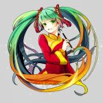 1girl absurdres china_dress chinese_clothes dated dress gradient_hair green_eyes green_hair hatsune_miku highres multicolored_hair orange_hair paintbrush scarlet_moon signature solo twintails upper_body vocaloid