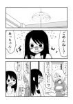 2girls blood blush ceiling_light collarbone comic flying_sweatdrops greyscale highres long_hair mochi_au_lait monochrome multiple_girls nose_plug nosebleed original shirt t-shirt tearing_up tissue translated trembling