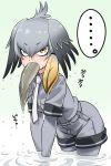 ... 1girl black_gloves bodystocking eating eyebrows_visible_through_hair gloves gradient_hair grey_hair grey_shirt head_wings kemono_friends low_ponytail mouth_hold multicolored_hair necktie orange_hair pantyhose shirt shoebill_(kemono_friends) short_sleeves side_ponytail solo wading water wet wet_clothes yellow_eyes youkan