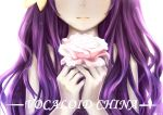 1girl backlighting flower hair_ornament head_out_of_frame holding holding_flower long_hair mo_qingxian pale_skin pink_rose purple_hair rose scarlet_moon solo upper_body vocaloid vocanese