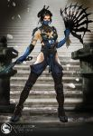 1girl armlet armor bangs between_fingers black_eyes black_hair blue_legwear breasts choker cleavage cleavage_cutout concept_art fan fighting_stance hair_ornament hair_rings hair_spread_out highres justin_murray kitana looking_at_another mask mortal_kombat mortal_kombat_x ninja parted_bangs sandals shoulder_pads sideboob solo stairs standing temple thigh-highs thighs toned