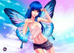 1girl artstation_sample black_shorts blue_hair butterfly_wings buttons collarbone emmanuel_gonzales hand_on_own_chest head_tilt image_sample long_hair looking_at_viewer navel original parted_lips pointy_ears red_lips shirt shorts signature sleeveless smile solo sparkle stomach tank_top white_shirt wings