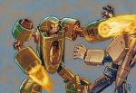 2004 a-loft-on-cybertron afterburner arm_cannon bad_boy_(gobots) bad_end battle blur burning damaged dated duel fire flamethrower gobots leader-1 machine_robo mecha robot scan science_fiction signature thrusters traditional_media turbine weapon