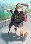 1girl adidas ahoge ak-74 bag blazer building cat cellphone cellphone_charm chain-link_fence church city fence gloves gym_bag headset jacket knee_pads kws light_brown_hair long_hair looking_to_the_side military necktie original phone pleated_skirt ponytail red_eyes rooftop school_uniform shadow shoes skirt sky sling sneakers solo tree watermark wind