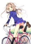 1girl :d ass bicycle black_legwear blue_skirt blue_sweater blush bow floating_hair green_bow ground_vehicle hair_bow highres kneehighs light_brown_hair looking_at_viewer looking_back love_live! love_live!_school_idol_project minami_kotori miniskirt one_leg_raised open_mouth pleated_skirt riding school_uniform signature simple_background skirt smile solo sweater white_background yellow_eyes yoshiwo