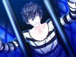1boy angry black_hair grey_eyes kurusu_akira male_focus persona persona_5 prison_cell prison_clothes short_hair solo