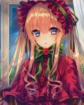 1girl bangs black_ribbon blonde_hair blue_eyes bonnet bow capelet curtains eyebrows_visible_through_hair flower frills green_bow green_ribbon hair_between_eyes hair_ribbon indoors long_hair looking_at_viewer parted_lips red_rose ribbon rose rozen_maiden saijou_yukina shinku short_hair_with_long_locks sidelocks solo twintails upper_body very_long_hair window