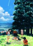 4girls backpack bag black_hair blurry clouds condensation_trail day depth_of_field fetal_position field frilled_skirt frills highres hill house inami_hatoko leaning_forward looking_at_another lying multiple_girls on_side original scenery short_hair short_twintails shorts shrine silver_hair skirt sky sleeping squatting tree twintails