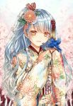 1girl bangs bird bird_on_hand blue_hair brown_eyes cherry_blossoms eyebrows_visible_through_hair floral_print flower furisode hair_flower hair_ornament hands_up japanese_clothes kanzashi kimono long_hair open_mouth original outdoors pink_flower saijou_yukina smile solo upper_body very_long_hair wavy_hair white_kimono
