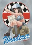 1girl abazu-red bra girls_und_panzer highres hitchhiking mika_(girls_und_panzer) nose_art socks solo thumbs_up twitter_username underwear