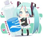 1girl blue_hair boots bottle_miku chibi gradient_eyes hatsune_miku jacket necktie skirt solo tagme thigh_highs very_long_hair vocaloid water_bottle