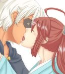 2boys eyepatch fire_emblem fire_emblem_if highres kiss multiple_boys redhead simple_background tsubaki_(fire_emblem_if) white_background white_hair yaoi zero_(fire_emblem_if)