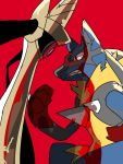 aegislash animal_ears clenched_hand clenched_teeth cowboy_shot eye_contact face-to-face hand_up jkwaipa0926 looking_at_another lucario mega_lucario mega_pokemon no_humans pokemon pokemon_(creature) pokemon_(game) pokemon_xy red_background red_eyes simple_background sketch slit_pupils snout spikes sword sword_hilt teeth weapon