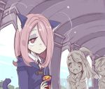 3girls akko_kagari animal_ears cat_ears cat_tail glasses hair_over_one_eye juice_box little_witch_academia long_hair lotte_yanson maodouzi multiple_girls open_mouth red_eyes short_hair sucy_manbavaran tail wand witch