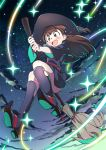 1girl :d akko_kagari bangs blunt_bangs blush boots broom broom_riding brown_hair clouds contrapposto eyebrows_visible_through_hair glowing happy hat knee_boots light_particles little_witch_academia long_hair looking_at_viewer night open_mouth red_eyes sky smile solo star_(sky) starry_sky tears thighs ume_(plumblossom) white_background wide_sleeves witch witch_hat