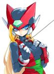 1girl android armor blonde_hair blue_eyes breasts genderswap genderswap_(mtf) gloves helmet highres lips long_hair rockman rockman_x rockman_zero solo very_long_hair yuriyuri_(ccc) zero_(rockman)