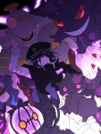 1boy banette cape chandelure danganronpa dusknoir evil_grin evil_smile fleur_de_lis garrison_cap gengar grin hat long_sleeves looking_at_viewer negi_(ngng_9) new_danganronpa_v3 ouma_kokichi pokemon purple_hair smile straitjacket tagme violet_eyes