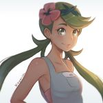 1girl armpits artist_name bare_shoulders blush breasts closed_mouth collarbone dark_skin flower green_eyes green_hair green_hairband hair_flower hair_ornament hairband koyorin long_hair looking_at_viewer low_twintails mao_(pokemon) overalls pokemon pokemon_(game) pokemon_sm small_breasts smile tareme thick_eyebrows twintails upper_body