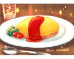 cherry_tomato commentary food glass ketchup letterboxed lettuce no_humans omelet omurice original peas plate sparkle spoon still_life tomato zoff_(daria)