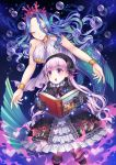 2girls absurdres alice_in_wonderland blue_hair book bracelet bubble character_request closed_eyes dress eyebrows_visible_through_hair fate/extra fate_(series) hair_ornament hat highres holding holding_book jewelry long_hair may_(2747513627) mermaid monster_girl multiple_girls nursery_rhyme_(fate/extra) open_mouth pink_hair shell sparkle tears violet_eyes