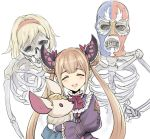 1girl blonde_hair closed_eyes double_bun dress frills granblue_fantasy hair_ornament hairband holding lang_(chikage36) lolita_fashion long_hair luchador_mask luna_(shadowverse) open_mouth ribbon shadowverse short_hair skeleton stuffed_animal stuffed_toy twintails wrestler_(granblue_fantasy)