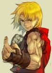 1boy blonde_hair brown_eyes capcom dougi eyebrows fighting_stance fingerless_gloves gloves hankuri ken_masters male_focus muscle pointing simple_background sleeveless smile solo street_fighter taunting