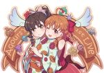 2girls :3 ;d ahoge bangs bow braid brown_eyes brown_hair commentary_request floral_print flower food fruit hair_bow hair_ornament holding holding_fruit hug hug_from_behind inami_anju japanese_clothes kimono kohaku_(ambermoe) looking_at_viewer love_live! love_live!_sunshine!! mandarin_orange multiple_girls obi one_eye_closed open_mouth orange_hair pink_skirt polka_dot polka_dot_bow red_eyes sash seiyuu_connection side_braid sidelocks skirt sleeveless smile star star_hair_ornament takami_chika wide_sleeves yukata yume_de_yozora_wo_terashitai