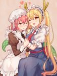 2girls :d ;( apron blonde_hair blue_dress breasts brown_eyes dragon_girl dragon_horns dragon_tail dress fang glasses glasses_removed gloves heart horns juliet_sleeves kobayashi-san_chi_no_maidragon kobayashi_(maidragon) large_breasts long_sleeves maid maid_apron maid_headdress multiple_girls necktie open_mouth orange_eyes pink_hair puffy_short_sleeves puffy_sleeves red_necktie rimless_glasses sash short_sleeves slit_pupils smile sweat tail tooru_(maidragon) twintails white_gloves yuri yutsumoe