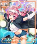 1girl arms_up artist_request card_(medium) coat fang gloves gym_uniform headband leaning_forward long_hair nana_asta_deviluke navel open_mouth outstretched_arms pink_eyes pink_hair shirt short_shorts shorts smile solo tail to_love-ru to_love-ru_darkness:_idol_revolution twintails wind wind_lift