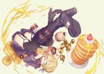 1girl ahoge black-framed_eyewear black_boots black_legwear black_panties blonde_hair blue_skirt boots cake checkerboard_cookie closed_mouth coat cookie cruller cupcake doughnut duffel_coat eating fate/grand_order fate_(series) food food_on_face fruit furisuku garter_straps glasses hair_between_eyes heroine_x heroine_x_(alter) high_heel_boots high_heels knee_boots looking_at_viewer open_clothes open_coat pancake panties pantyshot plaid plaid_scarf plate pleated_skirt red_scarf saber scarf school_uniform semi-rimless_glasses serafuku short_hair_with_long_locks sidelocks simple_background skirt solo strawberry sweets syrup thigh-highs thighs under-rim_glasses underwear upside-down waffle whipped_cream