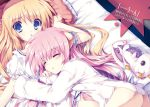 2girls ass bed blonde_hair blue_eyes bottomless closed_eyes dress eco_(dragonar) eyebrows highres long_hair looking_at_viewer lying multiple_girls novel_illustration official_art on_back on_side pillow pink_hair seikoku_no_dragonar seikoku_no_ryuu_to_powder_kiss shimesaba_kohada silvia_lautreamont sleeping white_dress
