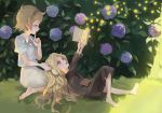 2girls :o absurdres anabel_creme barefoot blonde_hair blush book bush finger_to_mouth flower glasses grass highres hydrangea lap_pillow little_witch_academia long_hair lotte_yanson multiple_girls reading short_hair shrimp_cc sitting sketch yokozuwari
