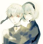 1boy 1girl bangs black_choker black_dress black_hairband black_jacket blindfold_removed blue_eyes choker collarbone dress green_eyes hair_between_eyes hairband hand_on_another's_shoulder hand_up holding_hand jacket juliet_sleeves lips long_sleeves looking_at_viewer mole mole_under_mouth nier_(series) nier_automata no_blindfold orange_eyes parted_lips pink_lips puffy_sleeves range ribbed_dress short_hair simple_background turtleneck upper_body white_background yorha_no._2_type_b yorha_no._9_type_s