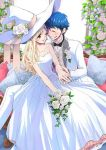 1boy 1girl bare_shoulders blonde_hair blue_hair bouquet bridal_veil bride couple dress elbow_gloves female flower gloves groom hat jewelry long_hair male official_art older one_eye_closed red_eyes ring shiraishi_urara smile spoilers strapless strapless_dress tuxedo veil wedding wedding_band wedding_dress white_dress witch_hat yamada-kun_to_7-nin_no_majo yamada_ryuu yoshikawa_miki