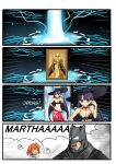 1boy 2girls 4koma ? batman batman_(series) batman_v_superman:_dawn_of_justice bikini blue_eyes brown_hair cellphone choker collarbone comic crossover crying crying_with_eyes_open dc_comics fate/grand_order fate_(series) fujimaru_ritsuka_(female) gameplay_mechanics hat highres holding long_hair multiple_girls namesake navel phone purple_hair saint_martha saint_martha_(swimsuit_ruler)_(fate) setia_pradipta short_hair smartphone spoken_question_mark streaming_tears sun_hat swimsuit tears