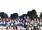 6+girls absurdres akiyama_yukari bag bandanna bangs black_bow black_eyes black_hair black_legwear black_ribbon blonde_hair blouse blue_eyes blue_hair blunt_bangs bow bow_(weapon) brown_eyes brown_hair brown_jacket brown_shoes caesar_(girls_und_panzer) carrying closed_mouth collarbone erwin_(girls_und_panzer) girls_und_panzer glasses green_hat green_skirt ground_vehicle hair_ribbon hairband hand_in_hair haori hat headband high_ponytail highres holding holding_weapon image_sample imageboard_sample isuzu_hana jacket japanese_clothes kadotani_anzu kawashima_momo kneehighs koyama_yuzu loafers long_hair long_sleeves looking_at_viewer m3_lee maruyama_saki messy_hair military military_hat military_uniform military_vehicle miniskirt monocle motor_vehicle multiple_girls muneate neck_ribbon neckerchief nishizumi_miho official_art one_eye_closed oono_aya open_clothes open_jacket open_mouth orange_eyes orange_hair oryou_(girls_und_panzer) panzerkampfwagen_38(t) panzerkampfwagen_iv peaked_cap pleated_skirt pointy_hair ponytail red_scarf reizei_mako ribbon round_glasses running saemonza sakaguchi_karina sawa_azusa scarf school_bag school_uniform semi-rimless_glasses serafuku shirt shoes short_hair simple_background skirt smile socks standing sturmgeschutz_iii takebe_saori tank thigh-highs twintails type_89_i-gou under-rim_glasses uniform utsugi_yuuki v walking waving weapon white_background white_blouse white_hairband white_shirt yamagou_ayumi yandere_sample