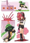 2girls armor belt bike_shorts black_boots black_gloves black_shirt black_shoes blush boots cross-laced_footwear domino_mask gift gloves goggles goggles_on_head green_eyes green_hair headgear holding holding_weapon inkling long_hair long_sleeves looking_at_viewer mask midriff multiple_girls octarian paint_splatter redhead shirt shoes short_hair short_sleeves single_vertical_stripe splatoon squid squidbeak_splatoon standing takozonesu tentacle_hair walking weapon wong_ying_chee