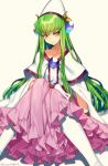 1girl artist_name blush brooch c.c. capelet closed_mouth code_geass collarbone cosplay cosplay_request creayus eyebrows_visible_through_hair filia_ul_copt frilled_skirt frills gem green_hair hat jewelry knees_together_feet_apart knees_up long_hair long_skirt long_sleeves panties pink_skirt sapphire_(stone) sidelocks simple_background skirt slayers slayers_try solo twitter_username underwear very_long_hair white_hat white_legwear white_panties wide_sleeves yellow_background yellow_eyes