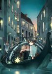 6+boys 6+girls arm_support black_hair blonde_hair blurry boat bridge brown_hair child city closed_eyes crossed_arms dusk gondola green_eyes ground_vehicle hat hermes highres kino kino_no_tabi lantern long_hair looking_back mare_(pixiv) mother_and_daughter motor_vehicle motorcycle multiple_boys multiple_girls old_man plant pouch railing river running scenery sign sitting smile star star_(sky) suspenders vines water watercraft waving window