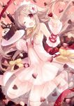 1girl ;d blonde_hair blush bow bowtie cake choco_angel chocolate chocolate_cake chocolate_heart detached_sleeves dress fate/grand_order fate/kaleid_liner_prisma_illya fate_(series) flower food hair_flower hair_ornament headdress heart holding illyasviel_von_einzbern legs_up long_hair looking_at_viewer midair one_eye_closed open_mouth plate pocky red_eyes see-through shoes smile solo sparkle valentine yashiro_seika yellow_bow yellow_bowtie