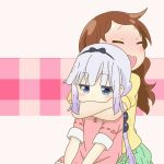 2girls black_ribbon blue_eyes blush brown_hair closed_eyes dress hairband half-closed_eyes hug hug_from_behind kanna_kamui kobayashi-san_chi_no_maidragon long_hair multiple_girls open_mouth ribbon saikawa_riko shirt short_sleeves silver_hair simple_background sitting skirt vector_trace wavy_mouth white_background yuri