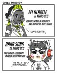 2girls alpha_gamboa bags_under_eyes cameo comparison d.va_(gremlin) d.va_(overwatch) dark_skin doritos earrings efi_oladele english food food_on_face headphones hoop_earrings jewelry messy_hair multiple_girls overwatch smile terry_crews thick_eyebrows tsurime very_dark_skin whisker_markings