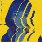 1girl album_cover black_hair chromatic_aberration cover erica_june_lahaie highres hood hoodie kuraine_(musician) original portrait red_eyes solo