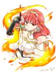 1girl 2017 bare_shoulders black_gloves celica_(fire_emblem) dress fingerless_gloves fire fire_emblem fire_emblem_echoes:_mou_hitori_no_eiyuuou gloves long_hair red_eyes redhead serious solo strapless strapless_dress sword tiara twitter_username upper_body weapon yukia_(firstaid0)