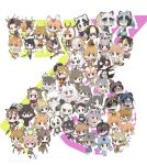 6+girls :d alpine_ibex_(kemono_friends) antlers apron arabian_oryx_(kemono_friends) bat-eared_fox_(kemono_friends) bilby_(kemono_friends) blackbuck_(kemono_friends) character_request chibi chiru_(kemono_friends) common_brushtail_possum_(kemono_friends) common_eland_(kemono_friends) common_ringtail_possum_(kemono_friends) culpeo_(kemono_friends) deer_ears empty_eyes expressionless eyepatch fang full_body glasses green_ringtail_possum_(kemono_friends) hand_up highres impala_(kemono_friends) japanese_badger_(kemono_friends) japanese_dwarf_flying_squirrel_(kemono_friends) kemono_friends koala_(kemono_friends) kyuushuu_flying_squirrel_(kemono_friends) long_hair looking_at_viewer moose_(kemono_friends) mountain_goat_(kemono_friends) mule_deer_(kemono_friends) multicolored_hair multiple_girls neck_ribbon numbat_(kemono_friends) open_hand open_mouth pademelon_(kemono_friends) pale_fox_(kemono_friends) pere_david's_deer_(kemono_friends) pince-nez pronghorn_(kemono_friends) pudu_puda_(kemono_friends) red_kangaroo_(kemono_friends) rhim_gazelle_(kemono_friends) ribbon roe_deer_(kemono_friends) sable_antelope_(kemono_friends) saiga_antelope_(kemono_friends) scaly-tailed_possum_(kemono_friends) schomburgk's_deer_(kemono_friends) shaded_face short_hair sika_deer_(kemono_friends) smile snow_sheep_(kemono_friends) spectacled_hare-wallaby_(kemono_friends) springbok_(kemono_friends) standing sulawesi_bear_cuscus_(kemono_friends) tagme tanuki_(kemono_friends) tasmanian_devil_(kemono_friends) tatu_nw thylacine_(kemono_friends) topi_(kemono_friends) twitter_username water_deer_(kemono_friends) waving weapon white-eared_possum_(kemono_friends) wombat_(kemono_friends) yezo_sika_deer_(kemono_friends)