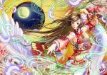 1girl 2017 arm_above_head armpits breasts brown_eyes brown_hair cherry_blossoms clouds dated detached_sleeves fan fan_dancing feathers floral_print flower folding_fan full_moon hair_flower hair_ornament japanese_clothes kimono large_breasts light_smile light_trail lips lipstick long_hair looking_at_viewer lotus makeup moon nail_polish night original pink_nails red_lipstick ryos-room-eden sideboob signature solo thigh-highs very_long_hair white_legwear window