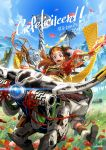 1girl alloy_(horizon) armor artist_request blue_sky bow_(weapon) braid brown_hair circlet flower grass green_eyes helmet highres horizon_zero_dawn japanese_armor kabuto lens_flare looking_at_viewer open_mouth riding robot sky smile weapon